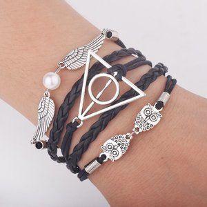 Harry Potter Owl/Snitch/Deathly Hallows Bracelet .